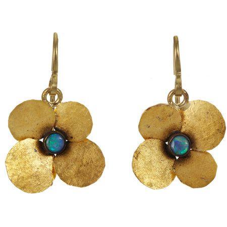 Judy Geib Womens Opal, Gold & Silver Bi-Polar Earrings