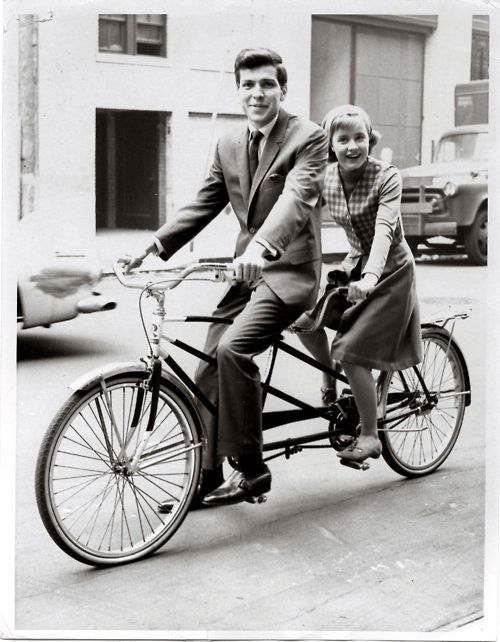 Frank Sinatra Jr. and Patty Duke on a tandem bicycle. The Patty Duke Show: Every Girl Should Be Married, 1965.