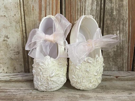Bautizo nacimiento nuevo bebé zapatos de satén color marfil