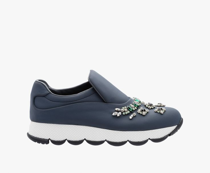 "PRADA - ""Wave"" neoprene slipper Crystals of different sizes applied by hand Elastic inside Wavy rubber sole"