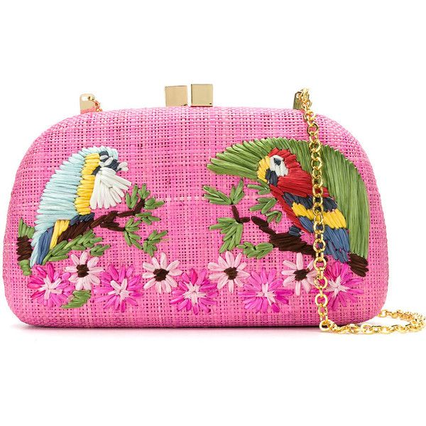 Serpui parrots clutch (1.615 BRL) ❤ liked on Polyvore featuring bags, handbags, clutches, pink, chain handle handbags, pink purse, straw purse, chain-strap handbags and straw handbags