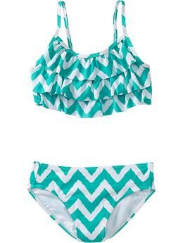 Girls Tiered Chevron-Print Bikinis | Old Navy