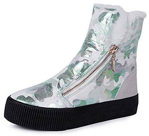 Women's Trendy Print Side Zipper Fleece Lined Flats Platform Sneakers Ankle Snow Boots Shoes