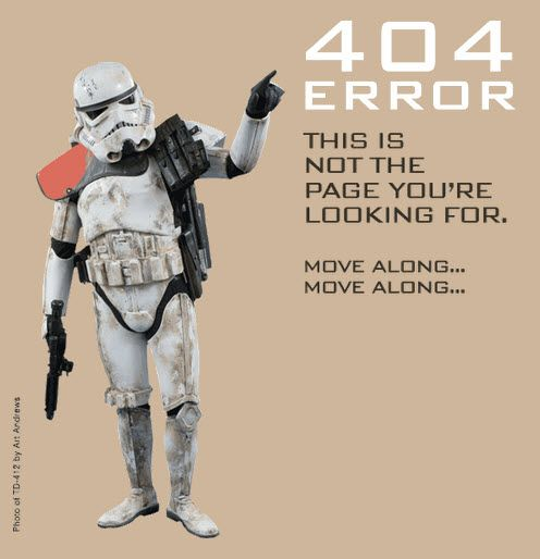 Stormtrooper 404 error #starwars: Geek, Pages Design, Storms Troopers, Neck Pain, 404 Errors, Web Pages, Stars Wars, Stormtrooper, Starwars