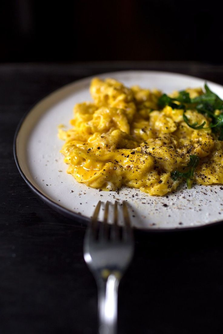 Creamy scrambled eggs, for each egg, add 1tbs of milk mixed with 1/2+tsp of corn starch, 1tbs of butter