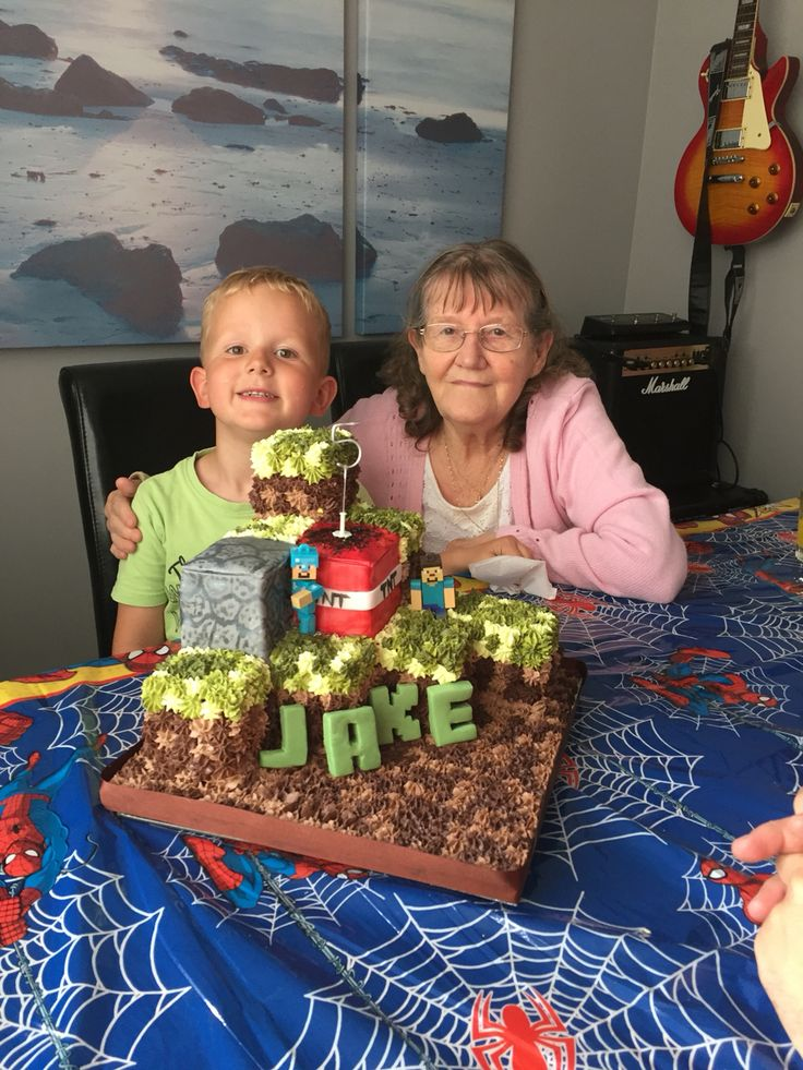 My sons minecraft cake - with buttercream rather than fondant  He helped with this - hence the rough finish!