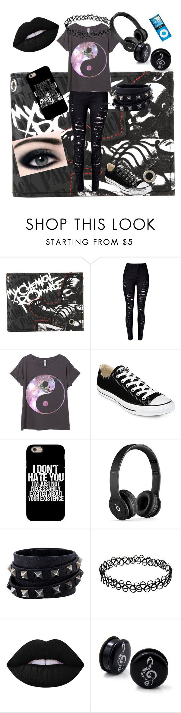 """""""Erin Chase"""" by destiny-ellis-1 on Polyvore featuring Converse, Beats by Dr. Dre, Valentino, Lime Crime and wattpad"""