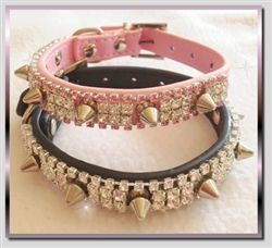 Glamour & Spikes Rhinestone Dog Collar in Black or Pink