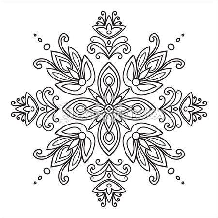 Elemento di zentangle disegno della mano. Stile di maioliche italiane in bianco e nero. Mandala del fiore. Illustrazione di vettore. Il meglio per il vostro disegno, prodotti tessili, manifesti, tatuaggi, identità aziendale — Illustrazione stock #82509900