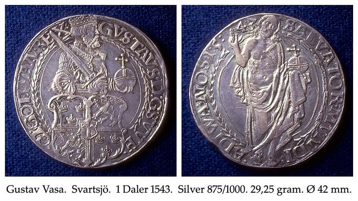 Gustav Vasa. Svartsjö. 1 Daler 1543. Silver 875/1000. 29,25 gram. Ø 42 mm.