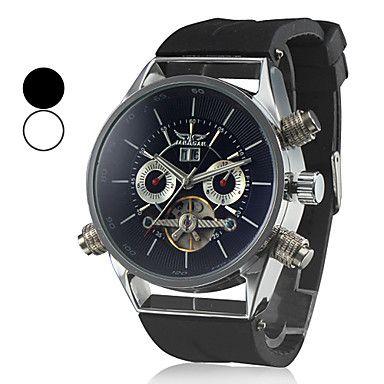auto-mecânico turbilhão de silicone preta relógio de pulso banda analógica dos homens (cores sortidas) – EUR € 32.19