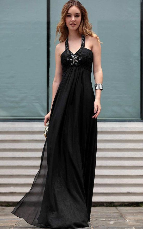 Vimans® Women's 2016 Long Black Halter Beaded Ball Gown Evening Dresses | Amazon.com