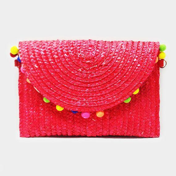 Red Pom Pom Straw Clutch Bag Purse