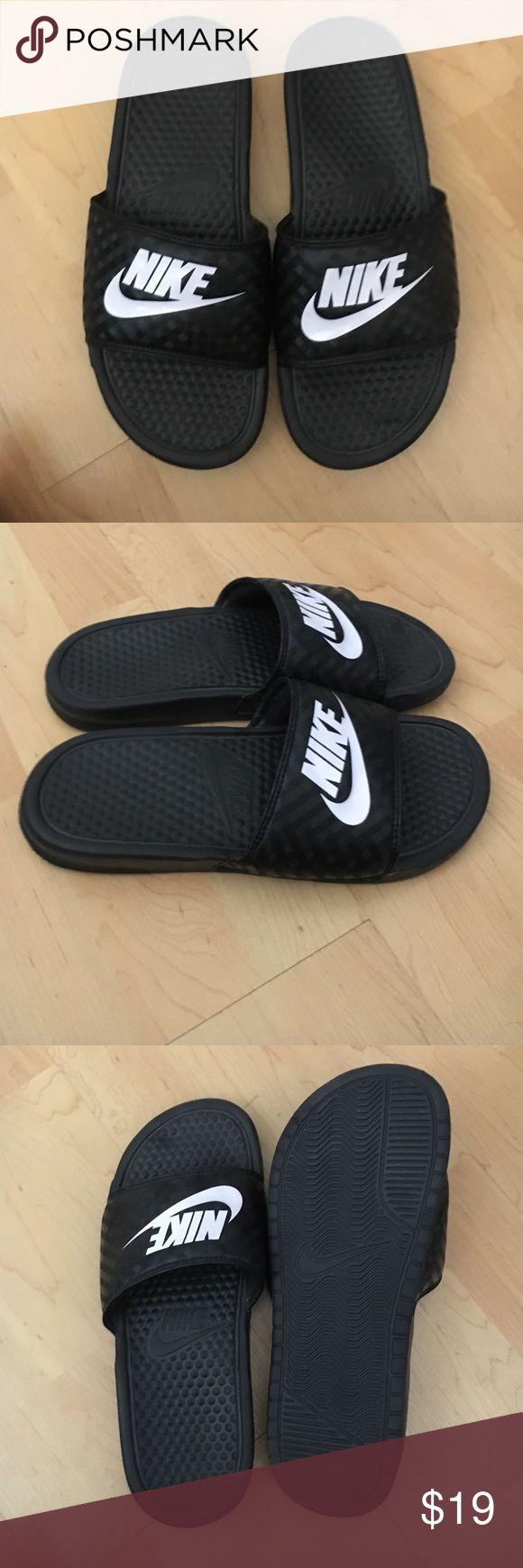 Women's Nike slip on sandals Women's size 8 slip on Nike sandals. Worn once with socks . Nike Shoes Slippers
