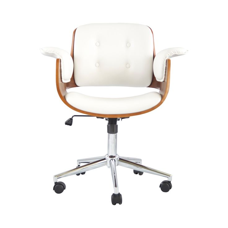 Looking to turn up the volume on your office décor? We love the aerodynamic look of this Flight Deck Office Chair. Gorgeous white leatherette and walnut veneer interplay keenly to produce a thoroughly ...  Find the Flight Deck Office Chair, as seen in the The Retro Office Lounge Collection at http://dotandbo.com/collections/the-retro-office-lounge?utm_source=pinterest&utm_medium=organic&db_sku=DBI6003-wht