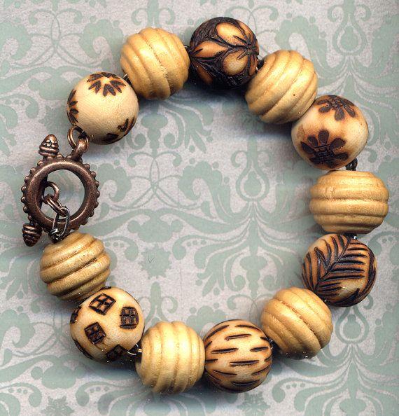 Foliage Color Bracelet Unique Wood Burned Bracelet by Annaart72