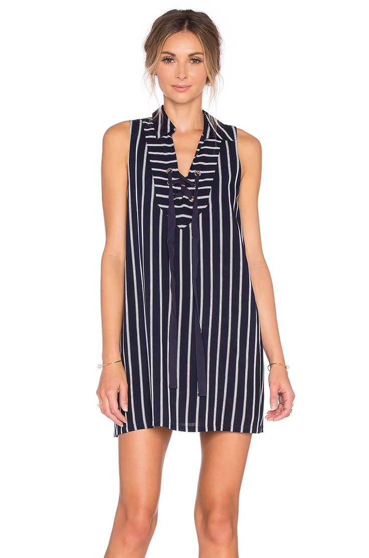 J.O.A. Lace Up Stripe Mini Dress in Navy