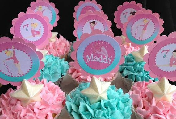 GYMNASTICS Birthday Party printable Cupcake toppers by ShopPartyTales