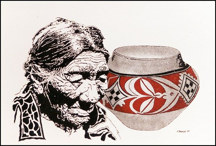 """Thoughtful Man. This polychrome painting is titled, """"Thoughtful Man."""" It is one of the paintings from F. Sharpe's, """"Images form the Past Series."""" It depicts a Blackfeet elder caught in a thoughtful pose. The painting also includes what appears to be a recently excavated ceramic pot decorated with traditional geometric designs, but it is not common in his area. The paintings by F. Sharpe have been created in three series, """"The Emergence,"""" depicting the Native American people from the past..."""