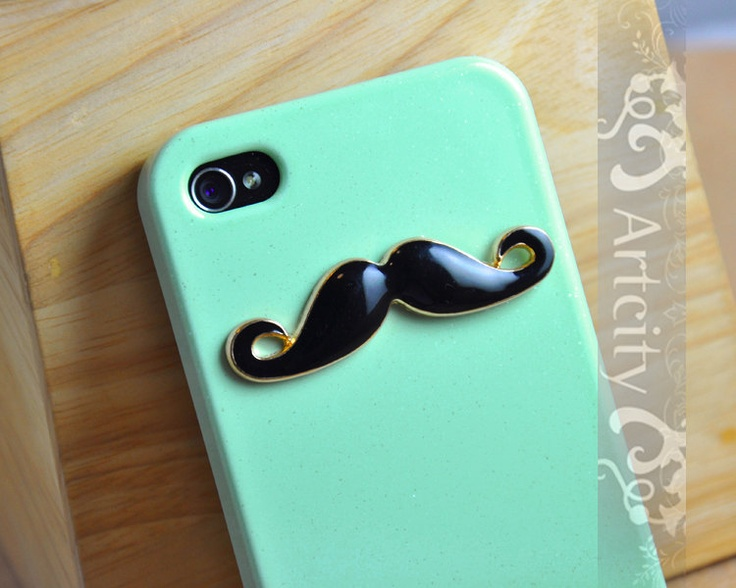 Cant wait to get an iPhone just to get this!!!! Black Mustache Light Green Iphone 4 Case, Iphone 4S case, Hard case, For Iphone 4, Iphone 4s. $8.99, via Etsy.
