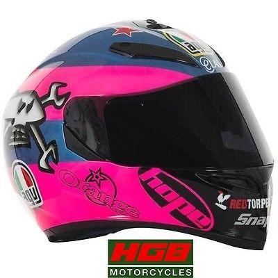 AGV NEW 2015 GUY MARTIN ISLE OF MAN TT 2015 K3 SV CRASH HELMET PINK BLUE MOTOGP in Helmets | eBay
