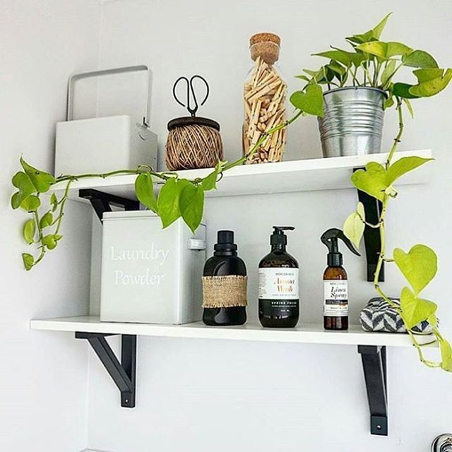 Shelfie by @rich_in_decor featuring #Kmart scissors/twine, cork plugged bottle