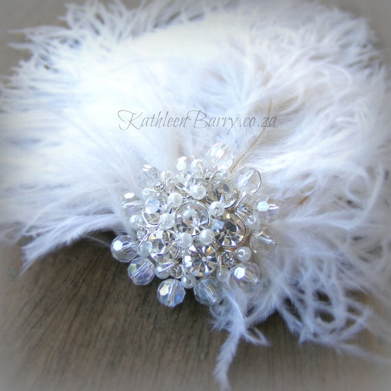 R295  Feather Fascinator with jewelled by KathleenBarryJewelry, wedding #hair #bridal #hairpiece