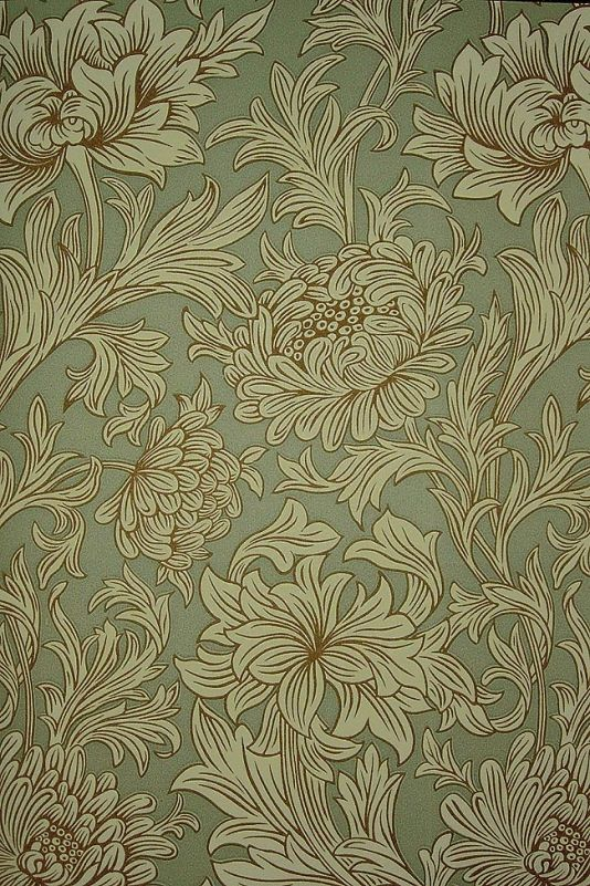 Chrysanthemum Toile Wallpaper Floral printed wallpaper in dirty aqua and grey with outlining in tan, the design is taken from a rare William Morris wallpaper