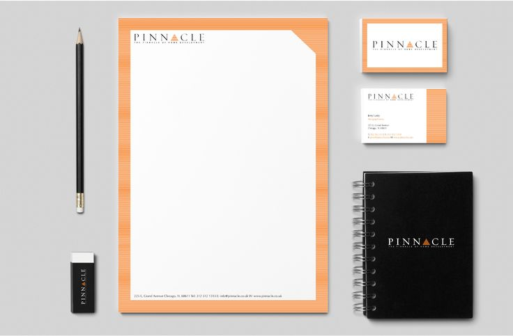 Stationery set for Pinnacle brief from Shillington Collge