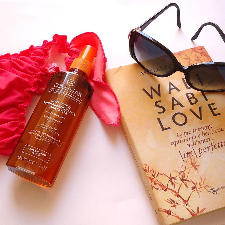 summer mood ready for the beach - sunglasses - collistar oil - bronze - book - inspiring - inspiration - bikini - wasabi love