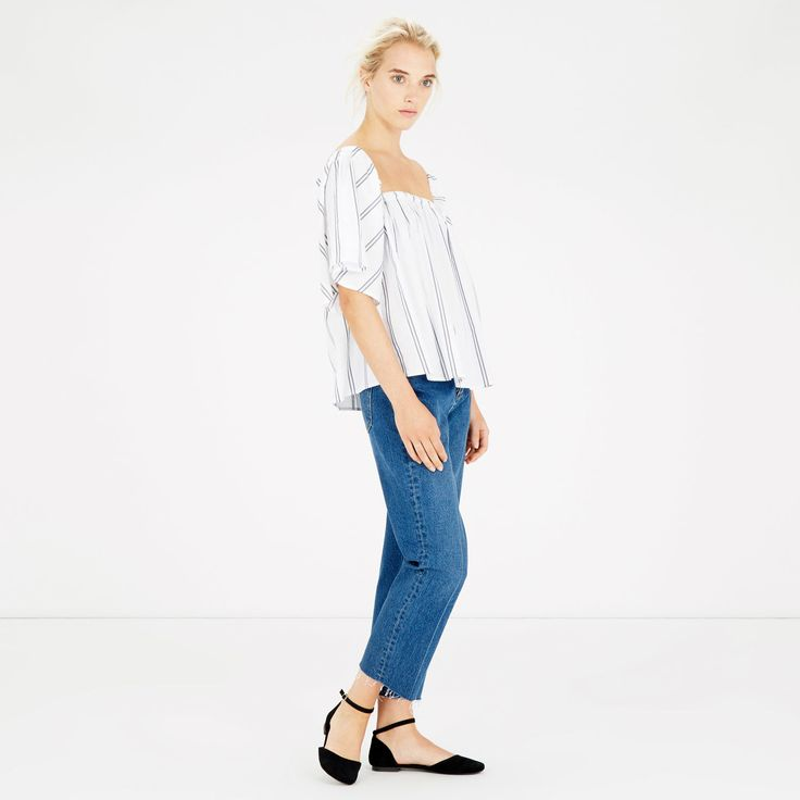 Warehouse, STRIPE BARDOT A-LINE TOP Neutral Stripe 2