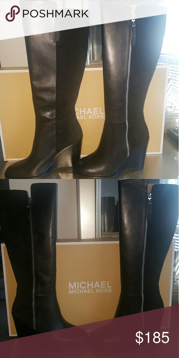 Michael Kors Clara Wedge Boots Sexy black wedge MK boots Michael Kors Shoes Heeled Boots