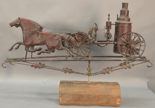 Weathervane horse drawn fire apparatus, late 20th century. ht. 38in., lg. 57in.