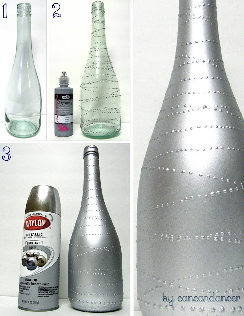 Spray paint a bottle after you put tape on it.