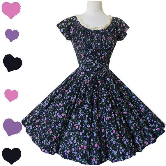 Dress Vintage 50s Black FLORAL Full Skirt by pinupdresses on Etsy, $180.00