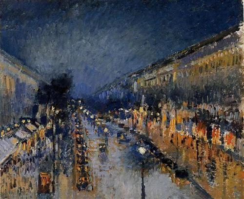 The Boulevard Montmartre at Night - Artist: Camille Pissarro Completion Date: 1897 Style: Impressionism Genre: cityscape Technique: oil Material: canvas Dimensions: 64.8 x 53.3 cm Gallery: National Gallery, London, UK  Impressionismens kännetecken[redigera   redigera wikitext] Impressionisterna hyllade landskapet sett i det naturliga ljuset, och målade därför utomhus och inte i ateljé. De fascinerades av förhållandet mellan ljus och färg, och målade fritt i rena primärfärger med prickmetod…