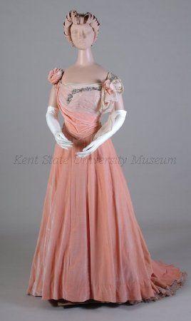 1900-1909 Salmon pink panne velvet and silk chiffon evening dress with sequin trim.