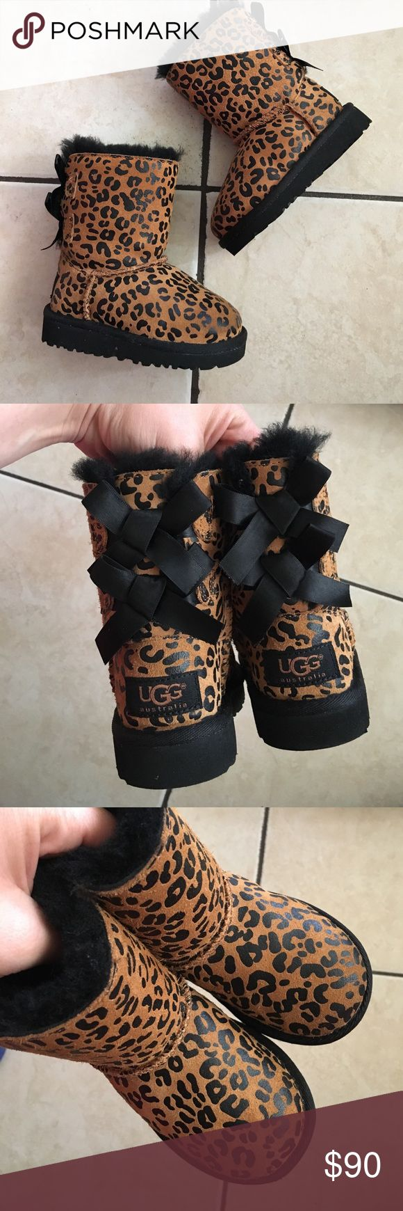 Uggs bailey bows leopard size 6c Worn once no box UGG Shoes Boots