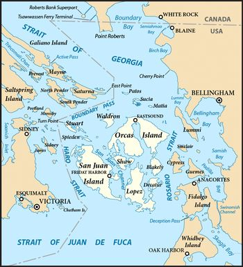 Deer Harbor, San Juan Islands, Washington | San Juan Islands (highlighted) and surrounding region.
