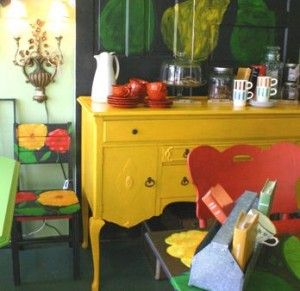 old furniture painted bright colors!