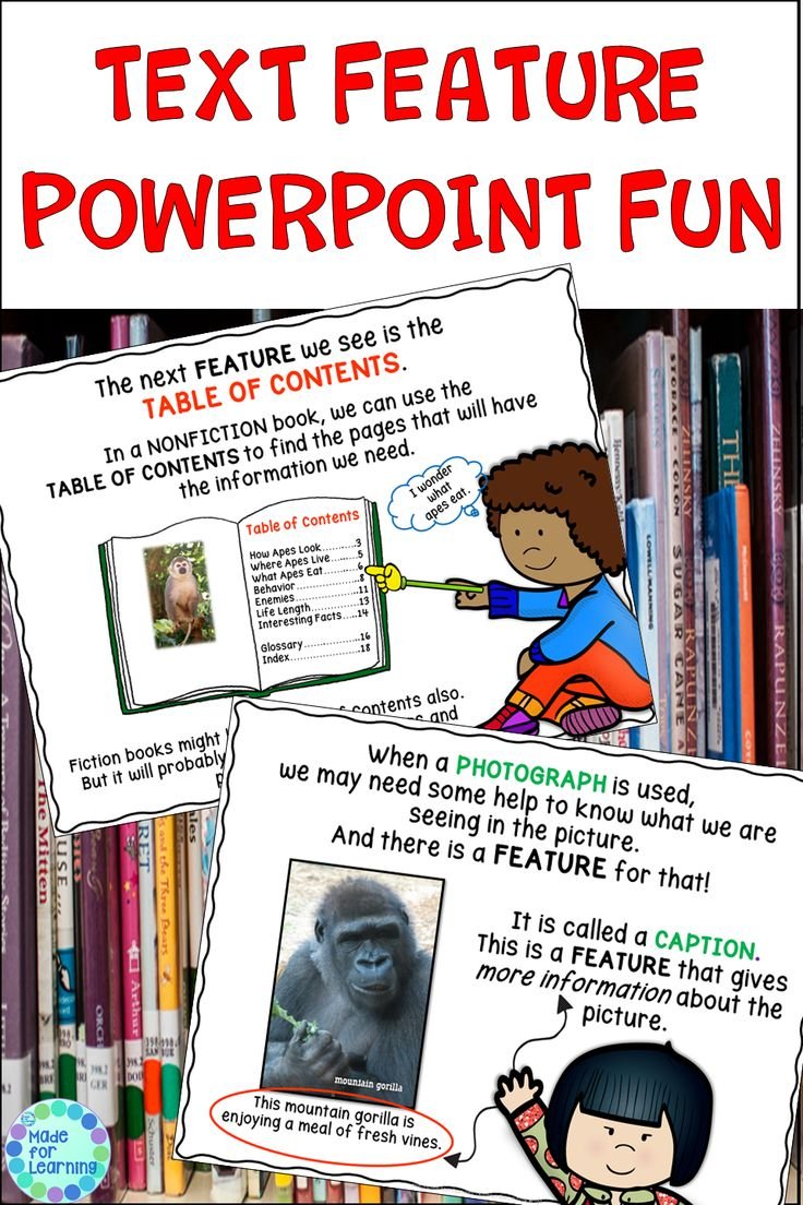 Add purpose to your nonfiction lessons teaching text features with this informational powerpoint.  Use this lesson in your primary first and second grade classroom or library as an introduction to captions, diagrams, labels, headings, text boxes, glossary, index, etc. while exploring expository texts.  This powerpoint is also printable for later review.  $
