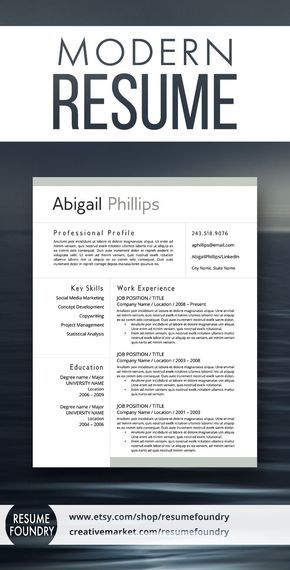Modern Resume Template for use with Microsoft Word.