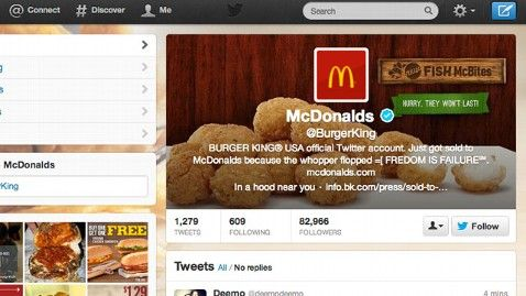 Burger King Twitter account, after a hacker made it look like McDonald's 18/02/2013