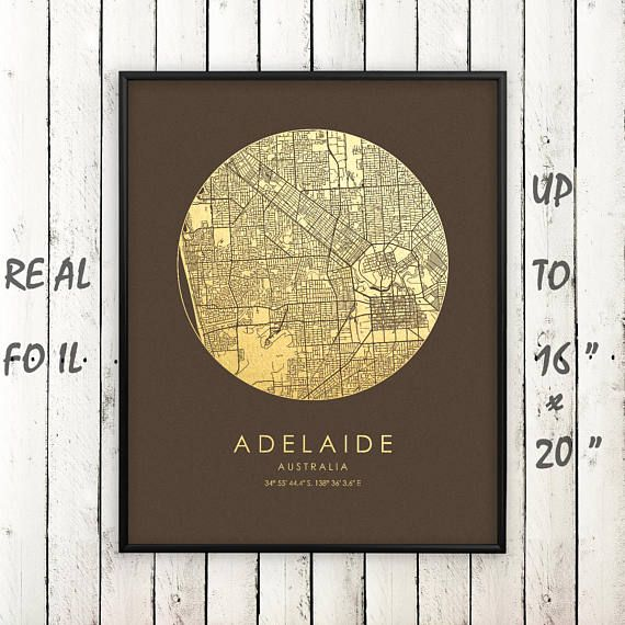 """Adelaide City 16""""x20"""" Map Gold Print, Real Gold Foil Print, Adelaide Map Poster, Adelaide City Print, Adelaide Gift, Australia, GoldenGraphy"""
