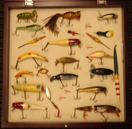 VINTAGE FISHING LURES IN A SHADOW BOX...