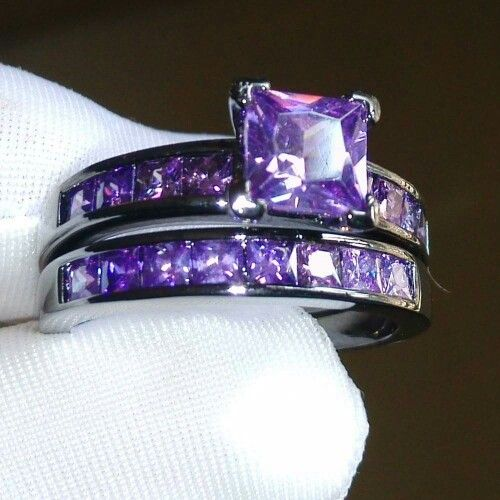 i love purple hmm would i do an all purple wedding ring - Purple Wedding Rings
