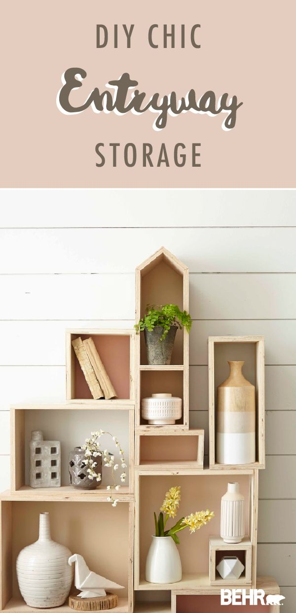 This DIY entryway storage box is a chic and easy way add a little style to your home. Use plain wooden boxes to create the layout of your storage system. Then, add a pop of color by painting each box with different shades like Life is a Peach, Everything's Rosy, Close Knit, and Sepia Filter. Click here for the full tutorial.
