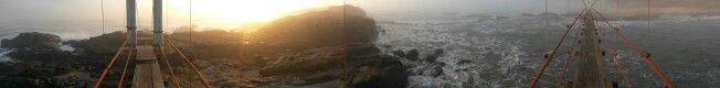 Panoramic view of Mazeppa Bay Bridge at sunrise