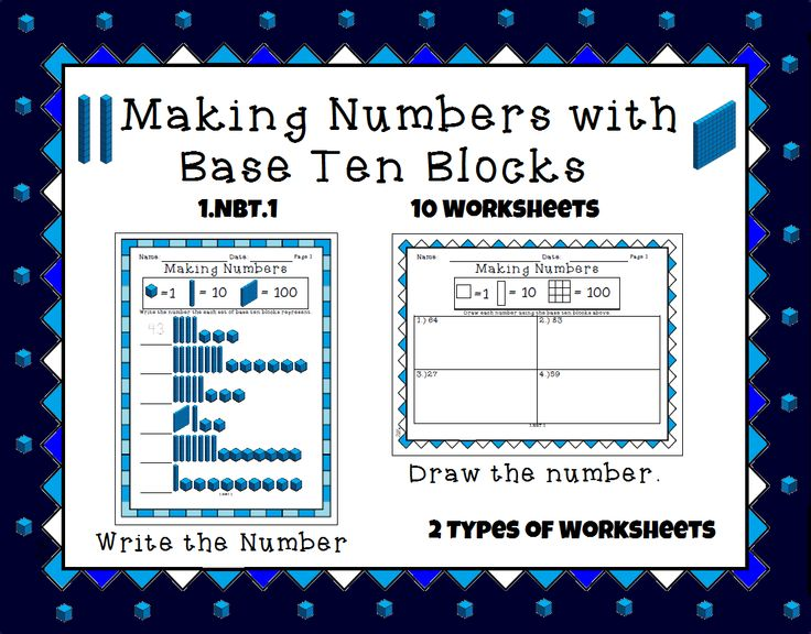This worksheet set has students creating numbers based on base ten blocks. There are 2 types of worksheets: The first has students writing numbers based on the a given set of base ten blocks. The second has students creating the number given by drawing the base ten block. There are 5 of each worksheet.   Includes an answer key and terms of use page.   Great for group work or centers.   Please vote for my product.
