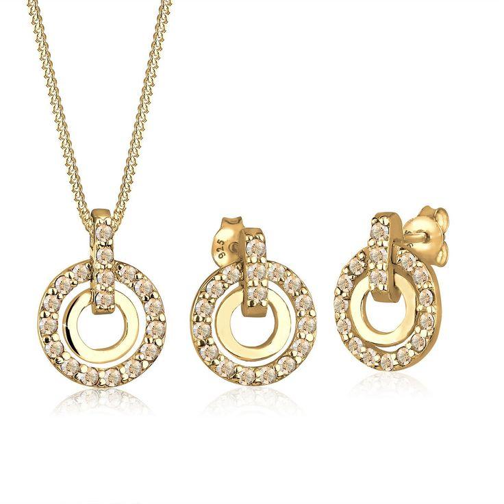 Funkelndes Schmuckset bestehend aus Halskette mit rundem Anhänger (ca. 12mm) aus feinem 925er Sterlingsilber vergoldet, Anhänger und Öse besetzt mit 18 Kristallen von Swarovski in CRYSTAL GOLDEN SHADOW, einem weich schimmernden Silber-Gold und Ohrstecker aus feinem 925er Sterlingsilber vergoldet (2x9mm), mit insgesamt 34 Kristallen von Swarovski in CRYSTAL GOLDEN SHADOW, einem weich schimmernde...